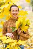 Woman Picking Leaves in Autumn Royalty Free Stock Photography