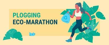 Woman picking up litter during plogging marathon vector illustration
