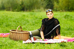 Woman on Picnic Stock Photo