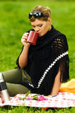 Woman on Picnic Royalty Free Stock Photography