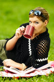 Woman on Picnic Royalty Free Stock Photos
