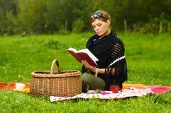 Woman on Picnic Stock Photo