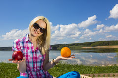Woman picnic apple Royalty Free Stock Photography