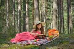 Woman on Picnic with Book Stock Photos