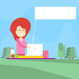 Woman Picnic In Park Use Laptop Computer Chat Bubble Royalty Free Stock Photos