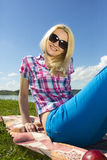 Woman picnic Stock Photos