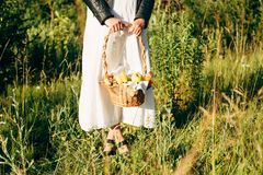 A woman on a picnic stand on the grass and holds a picnic basket in her hand stock images