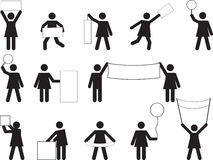 Woman pictogram holding blank banners Stock Images