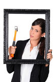 Woman with a picture frame Royalty Free Stock Image