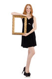 Woman with picture frame Royalty Free Stock Photos