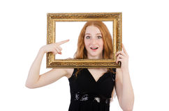 Woman with picture frame Stock Photography