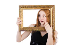 Woman with picture frame Stock Photos