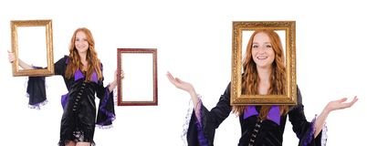 The woman with picture frame on white Stock Images