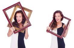 The woman with picture frame on white Stock Photography