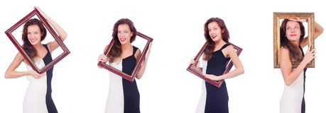The woman with picture frame on white Royalty Free Stock Photography