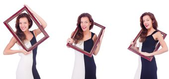 The woman with picture frame on white Royalty Free Stock Images