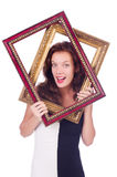 Woman with picture frame Stock Images