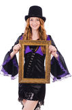 Woman with picture frame Royalty Free Stock Photography