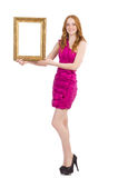 Woman with picture frame Royalty Free Stock Photo