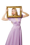 Woman with picture frame Stock Image