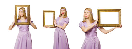 The woman with picture frame on white Stock Photos