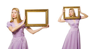 The woman with picture frame on white Royalty Free Stock Image