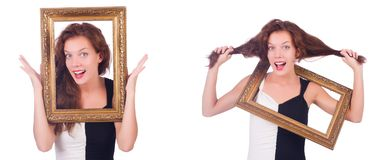 The woman with picture frame on white Stock Photo