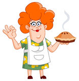 Woman with pie. Friendly lady showing her home made pie Royalty Free Stock Photo
