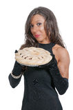 Woman with Pie Royalty Free Stock Image