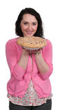 Woman with Pie. Beautiful woman holding a freshly baked pie Royalty Free Stock Photography