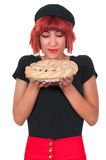 Woman with Pie Stock Photography