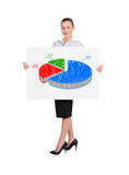 Woman and pie graph Royalty Free Stock Photo