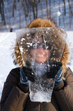 Woman with piece of ice. Royalty Free Stock Photos