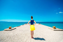 Woman on the pier Royalty Free Stock Photos