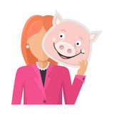 Woman with Pig Mask Flat Design Illustration. Red head woman character in pink suit with pig mask in hand vector. Flat design. Masquerade animal clothing and Stock Images