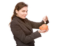 Woman with piggy bank Royalty Free Stock Images