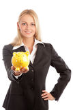 Woman and a piggy bank Stock Photos