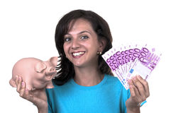 Woman with piggy bank and 500 euro Stock Photo