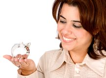 Woman with a piggy bank Royalty Free Stock Photography
