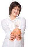 Woman with piggybank Royalty Free Stock Photos
