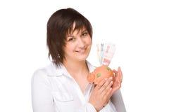 Woman with piggybank Royalty Free Stock Photo