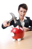 Woman and piggybank Stock Images