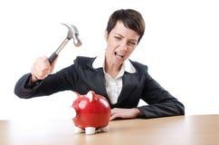 Woman and piggybank. On white stock image