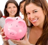 Woman with a piggybank Royalty Free Stock Image