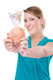 Woman With Piggybank Stock Image