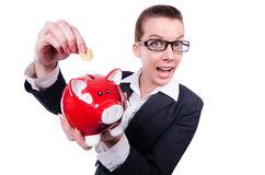 Woman with piggybank Royalty Free Stock Image