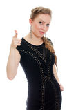 Woman with pigtail in black dress Royalty Free Stock Photos
