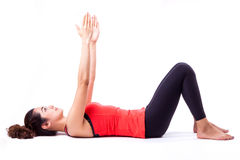 Pilates action. Woman in pilates action ( isolated Stock Photo