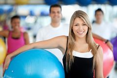 Woman with pilates ball Royalty Free Stock Images