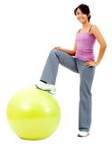Woman with a pilates ball Stock Photos
